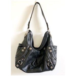 B.Makowsky Black Leather  Handbag Purse